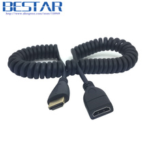 Black HDMI Male to HDMI Female stretch spring VIDEO extension CABLE 1.2m 4ft for HDTV DVB DVD PC 1080p