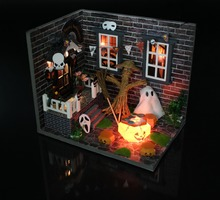 Happy Halloween Pumpkin theme DIY Wood Doll house 3D Miniature Lights+Dust cover+Furnitures Building model Home&Store decoration