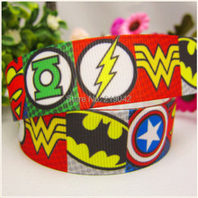 free shipping 22mm Justice League printed grosgrain ribbon,Clothing accessories accessories, wedding gift wrap ribbon, MD51441