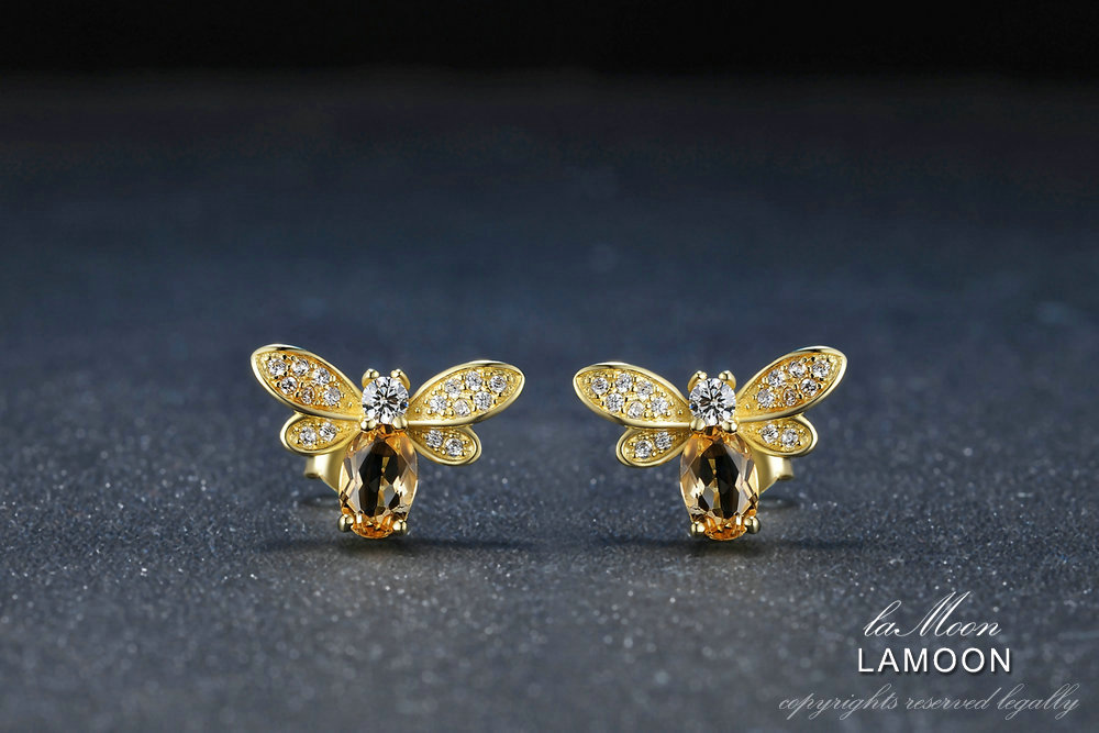 LAMOON Bee 5x7mm 1ct 100% Natural Citrine 925 sterling-silver-jewelry 14K Yellow Gold Plated Stud Earring S925 LMEI041