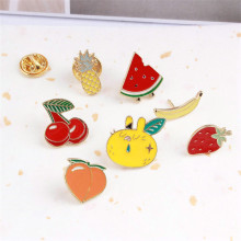 10PCs Mini Order Cute Enamel Fruit Brooch Watermelon Cherry Peach Strawberry Pinapple Banana Shape Gold Color Drop Oil Brooches