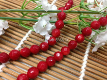 1 strand 6mm Faceted Red Sea Bamboo Coral Round Beads semi precious stone loose beads fit Fashion Jewelry making free shipping(China)