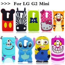 3D Cute Lovely Minnie Minions Stitch Soft Silicone Cellphone Moblie phone Rubber Case Back Cover For LG G2 Mini G2mini D618 D620
