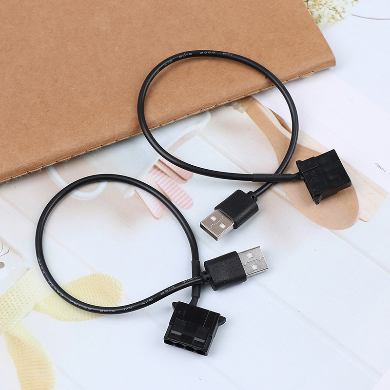 2pcs PC Fan 4 Pin 12V to 5V USB 2.0 Connection Cable Adapter Computer Fan Power Cable Connector Adapter 4pin Fan To USB Adapter