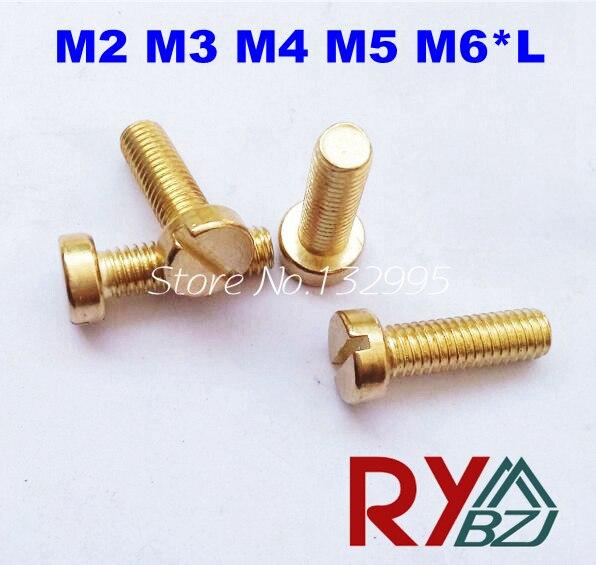 M2 M3 M4 M5 M6*L  DIN84  Brass Slotted cheese head screws  Brass  DIN84<br><br>Aliexpress