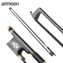 ammoon 4/4 Violin Fiddle Bow Well Balanced Golden Braided Carbon Fiber Round Stick Ebony Frog AAA Mongolia Black Horsehair(China)