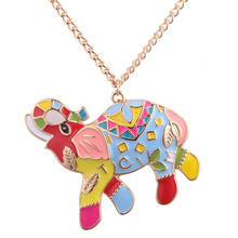 Necklace Women 2018 Metal Elephant Necklaces & Pendants Fashion Cheap New Jewelry Sweater Chain Accessories 9 Kinds of Animals(China)