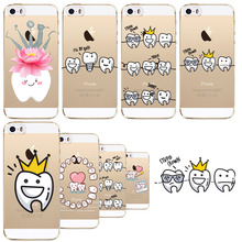 Tooth Love Heart Soft Phone Case Cover for iPhone SE 5 5S Ultra Thin Silicon Transparent Cute Back case fundas