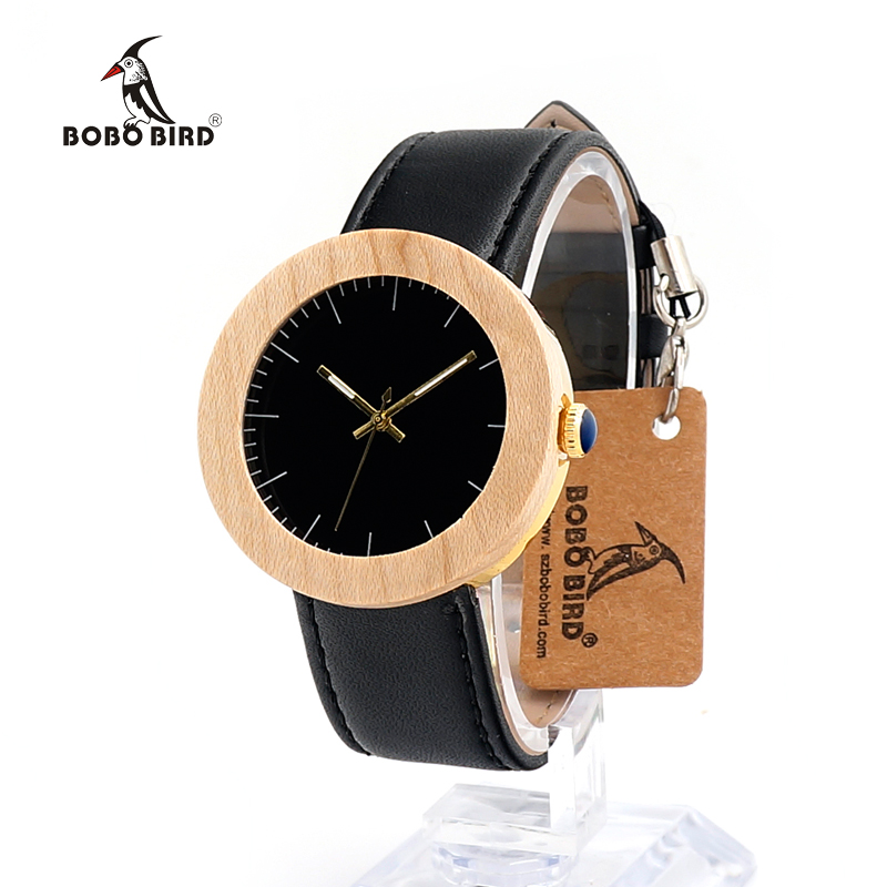 BOBO BIRD J30 Simple Fashion Pine Wooden&amp;Steel Quartz Watch With Soft Leather Band In Wooden Box As Gift For Women relojes mujer<br><br>Aliexpress