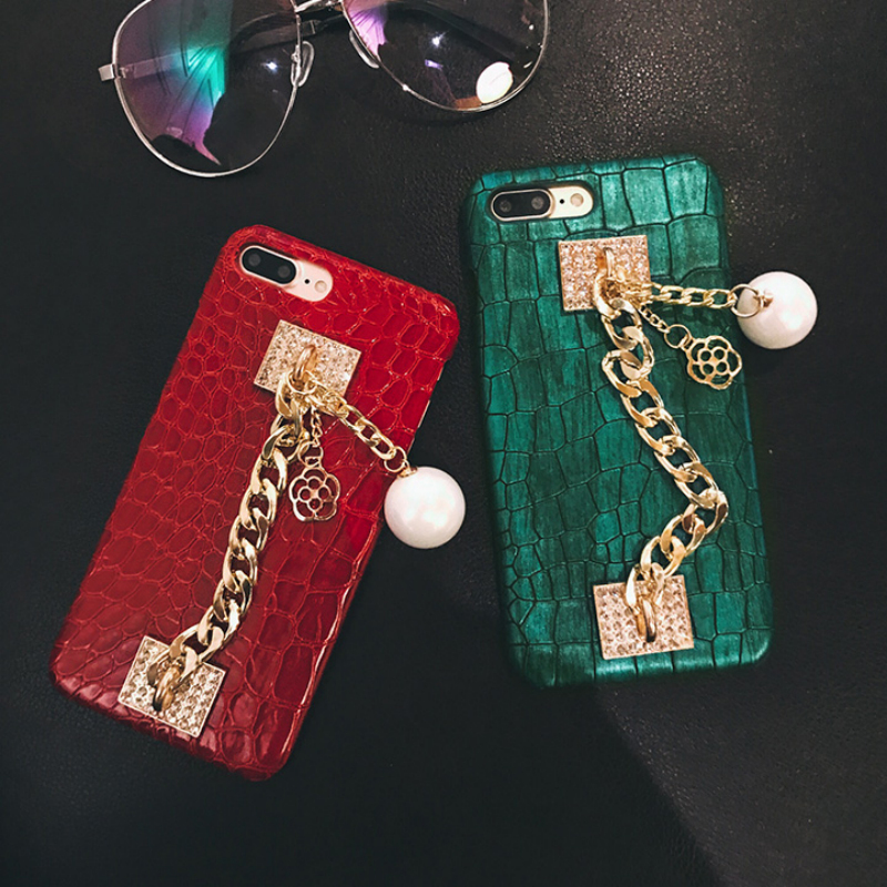 TANZ Luxury Bling Diamond Pearl Chain Pendant Case iPhone 7 6 6S 8 plus 6Splus PC Crocodile pattern hard cover phone cases