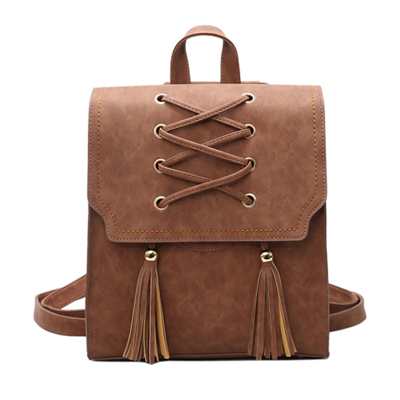 2017 NEW Fashion Brand Women PU leather Backpack Casual For Teenage Girls Tassel Travel Students Cool School Rucksack<br>