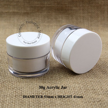 10pcs/Lot 30g High Quality Plastic Cream Jar 30ml Acrylic Double Wall Refillable Small Facial Packaging Cosmetic Container(China)