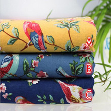 50x145cm Japanese Flowers Birds Cotton Linen Fabric Meter Sewing Tilda Cloth DIY Quilting Patchwork Tissue Textile Costura Felt(China)