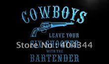 LK932- Cowboys Leave Six Shooter Gun Bar Neon Sign    home decor  crafts
