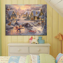 Poster and Print of Thomas Kinkade Paintings Tangled ,Christmas decorations for home,wall pictures for living room ,quadros art(China)