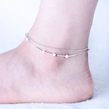 Summer Style Double Chains Charming Star Bells Beads Pendant Anklets Foot Ankle Jewelry Barefoot Sandals Anklet For women(China)