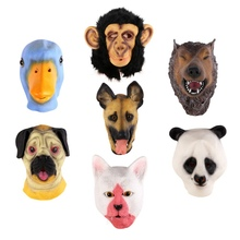 2017Creepy Octopus Horse Lion Hippo Rubber Animal Panda Party Animal Latex Mask Halloween Mask Funny Kids Party Masquerade Mask(China)