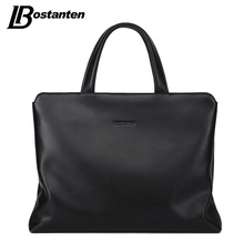 BOSTANTEN New Genuine Leather Men Handbags Large Laptop Briefcase Male Crossbody Bag Men's Travel Bags 14 inch Computer Bag(China)