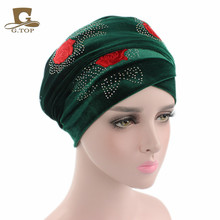 New luxury red rose diamante Extra Long Velvet Turban Head Wraps Hijab Head Scarf bandanas(China)