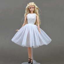 White Doll Accessories Cute Dancing Costume Ballet Dress Lace Skirt Dress Clothes For Barbie Doll Girls Love Christmas Gift Toy