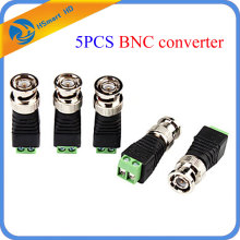 5PCS BNC Male CCTV Video Adapter Coaxial Coax Balun Camera TV Connector