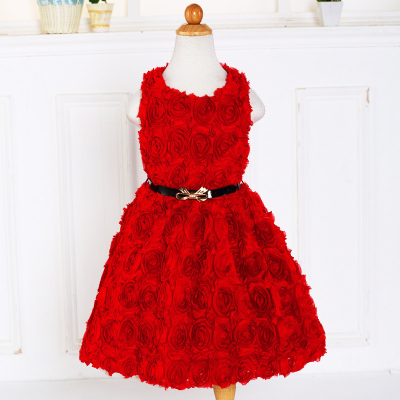 2017 New Rosette Sleeveless Flower Dress for Girl O-Neck Petal Birthday Dress Princess Girl Party Rose Floral Dress With Belt<br><br>Aliexpress
