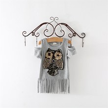 New Arrival Children T shirt Short sleeve Sequins OwlBaby girl clothes clothing Summer Spring Kids Girls t shirts(China)
