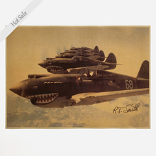 Vintage bar cafe Decoration Air Shark Fighter Kraft Paper Poster Retro shop flight Wall Sticker Old Painting 42x30cm ZJP-M036