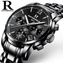 9134baf8c43 Masculina marca relógios de pulso de quartzo Negócio da moda de aço  inoxidável dos homens relógios de luxo Mens ouro preto à pro.
