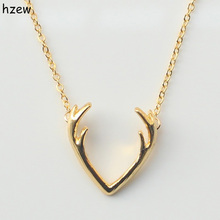 hzew Fashion Deer Horn Antler Necklace Unique Animal Necklace Minimalist Jewelry For Women Cute Pendant Tiny Necklace(China)