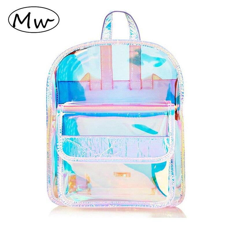 Women Mini Backpack Shiny Holographic Transparent Shoulder Bag Clear Bookbag School Bag Travel Bag Fashion Backpack Blue
