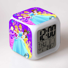 Princess Snow White Cinderella PVC Action Figure LED Colorful Glow Touch Light Alarm Clock Kids Toys for girls(China)