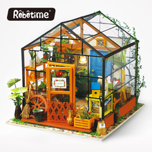Robotime 3D Wooden Puzzle DIY Handmade Furniture Miniature Dollhouse Building Model Home Decoration green house DG104(China)