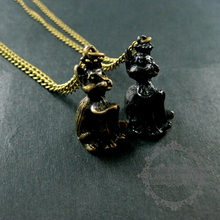 25x15mm vintage style black,bronze cat antiqued pendant charm long sweater fashion necklace chain 6350436