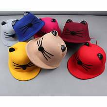 JTVOVO new Style cute cat ear Fedoras Hat cap autumn winter Hats lovely Boy Girl kids warm hat children's equestrian cap wholesa(China)