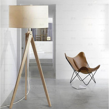 Europe Nordic Cottage Hand Crafted Wood 3 Legs Linen Led E27 Floor Lamp for Living Room Bedroom Study H 150cm 1713(China)