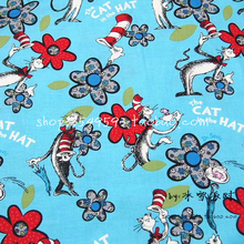 140X100cm Dr. Seuss The Cat In the Hat Sky Blue Cotton Fabric for Girl Clothes Bedding Set Quilting Cushion Cover DIY-AFCK769(China)