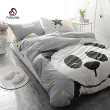 ParkShin Panda Printed Bedding Set Kids Gray Bedspread Duvet Cover Set Comfortable 100% Cotton Bed Set With Flat Sheet 4Pcs(China)