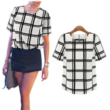 2016 OL Style Women Black and white grid printed shirts women short shirts Round Neck batwing sleeve ladies chiffon Shirt