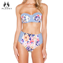 Sexy Female Floral Micro Brazilian Push Up Bikini Swimwear Split Tanga Bandeau Bathing Suit Women Swimsuit High Waist Bikini
