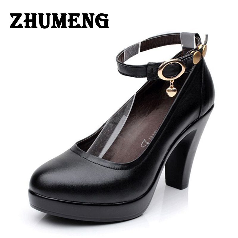 2017 womens genuine leather shoes medium high heels (8cm) shoe platform waterproof Ankle strap OL occupation Ladies size 11 12<br>