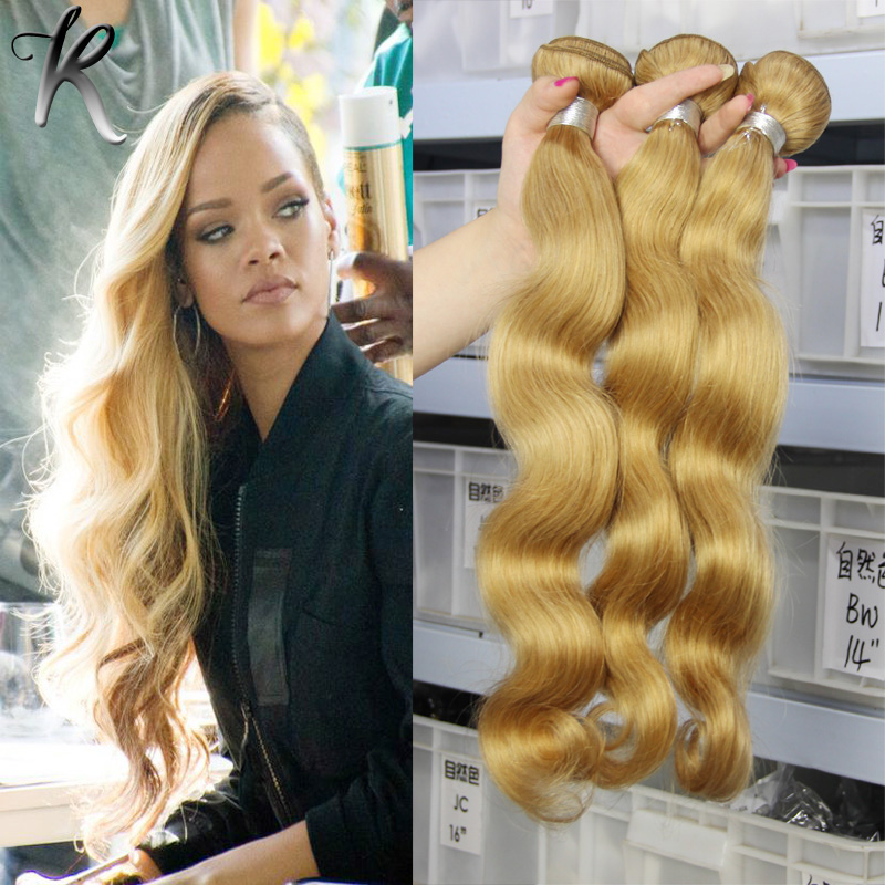 Indian Honey Blonde 27# Color Weave Bundles 3pcs/Lot Body Wave Indian Human Virgin Hair 7A Grade Indian Remy Hair Weft Extension<br><br>Aliexpress