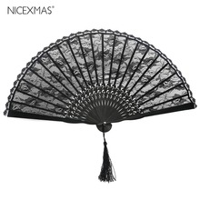 Spanish Victorian Hand Fan for Wedding Party Favor Fancy Dress Black Japanese Folding Pocket Fan(China)