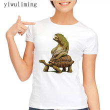 womens t shirts fashion 2017 Tortoise design t-shirt Sloth Riding Turtle Harajuku funny tee shirts Hipster O-neck cool tops(China)