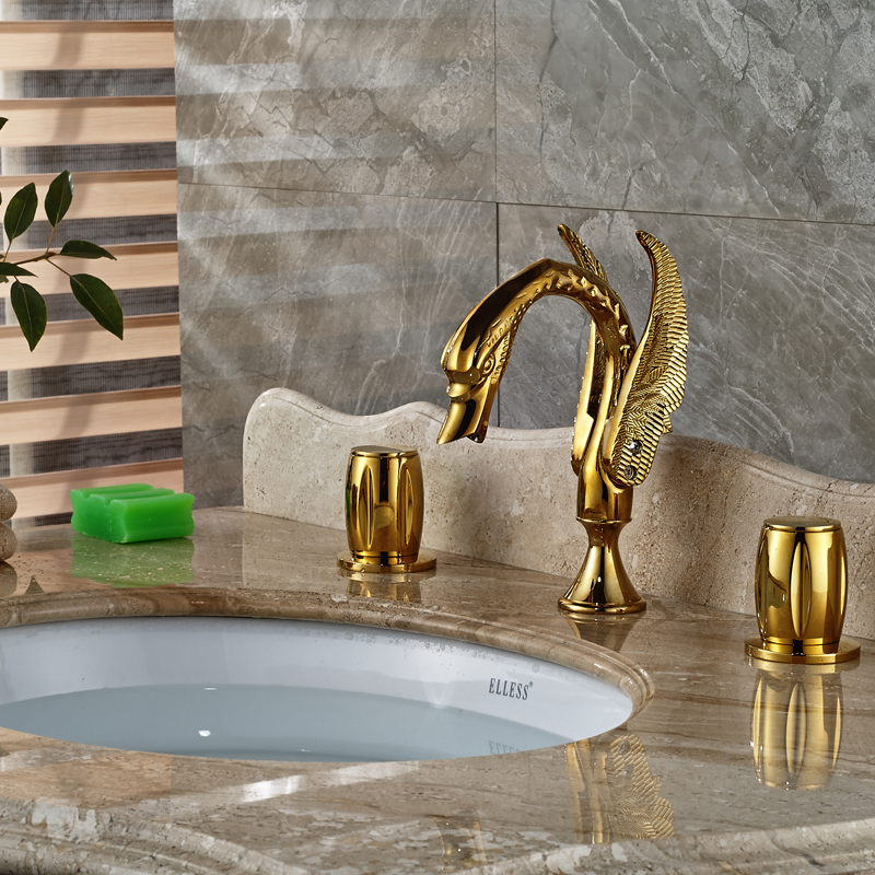 Widespread Dual Handle Brass Basin Faucet Deck Mount 3 Hole Swan Style Bathroom Mixer Taps<br><br>Aliexpress
