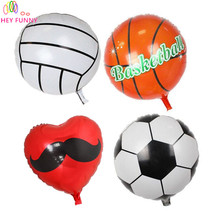 HEY FUNNY 5 pcs/set 18 Inch Football Balloons Basketball Foil Balloons For Children Birthday Gift Football Party Decoration