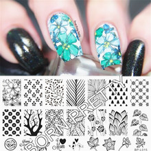 BORN PRETTY  Nail Stamping Plates Forest Pattern Trees Nail Art Stamp Template Image Plate Manicure Decoration BP-L015