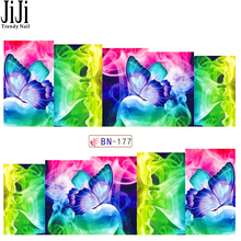 1 Sheet Nail Art Decorations Stickers Water Transfer Decals Colorful Butterflies Beauty Full Image Nail Stencils Tips JIBN177