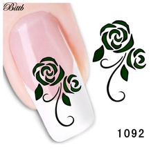 Bittb Nail Art Sticker Flower Design Fingernail Care Beauty Make Up DIY Nail Manicure Makeup Tool Nail Foil Paste Nail Decals