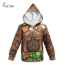MUABABY Boys Girls Winter Moana Maui Hoodies Kids Long Sleeve Casual Suits Add Fleece Children Cartoon Jackets Zip Hooded Coat(China)